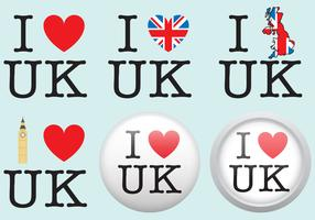 I Love UK Badge Vectors