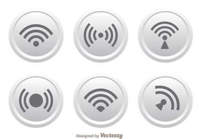 White Button Wifi Logo Vectors