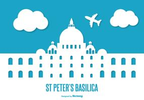 Flat Style St Peter's Basilica Illustration