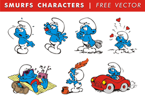 Smurfs Characters Free Vector