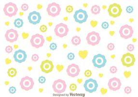 Colorful Flowers Girly Pattern Vector