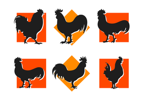 Rooster Silhouettes Vector Icons Free