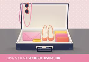 Open Suitcase Vector Illustration