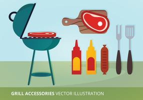 Grill Accessories Vector Illustration