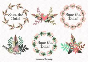 Save the Date Leaves Wreath Vectors
