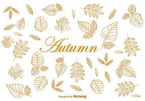 Doodle Autumn Brown Leaves Vectors