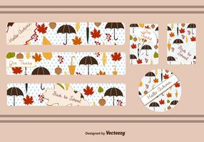 Fall Leaf Banner Vectors