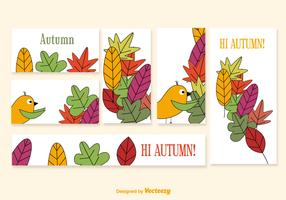 Banners with cartoon seasonal elements