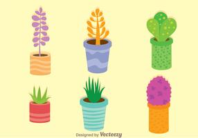 Colorful Vector Plants In A Pot