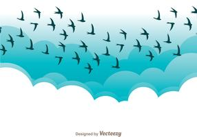 Flying Bird In Blue Sky Vector