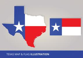 Texas Flag and Map Vectors