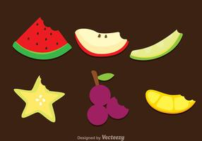 Slice Fruits Bite Mark Vectors