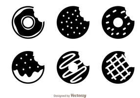 Donut Black Icon Vectors