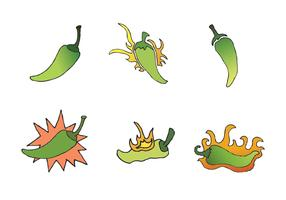 Free Green Hot Pepper Vector Series