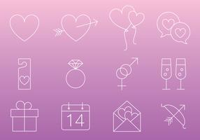 Thin Line Love Icon Vectors