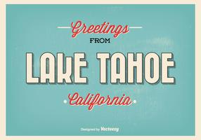 Lake Tahoe Retro Style Greeting Illustration