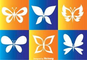 White Butterflies Vector Icons