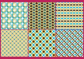 Retro Gold & Blue Patterns