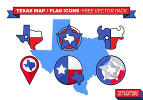 Texas Map And Flag Icons Free Vector Pack