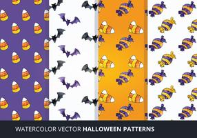 Vector Watercolor Halloween Patterns