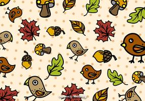 Autumn cartoon pattern vector