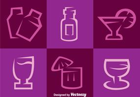 Purple Cocktail Vector Icons