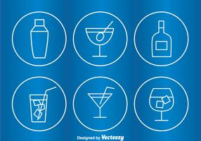 Cocktail Circle Outline Icons