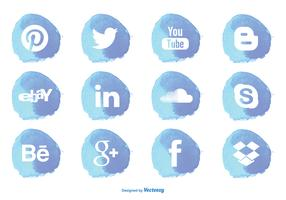 Aquarell Stil Social Media Icon Set