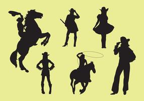 Vector Illustration of Cowgirl Silhouettes