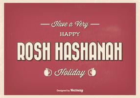 Vintage Typographic Rosh Hashanah Greeting Illustration