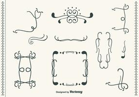 Hand Drawn Curly Swirl Vector Set