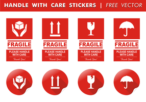Handle With Care Stickers Free Vector