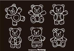 Teddy Bear Sketch Vector Icons