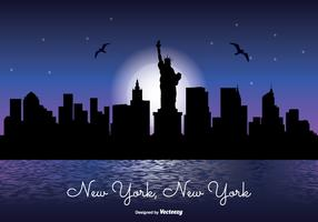 New York Night Skyline Illustration