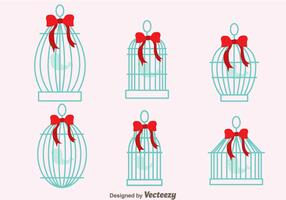Vintage Bird Cage With Ribbon Vectors