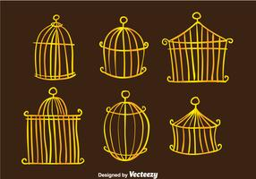 Golden Vintage Bird Cage Vectors