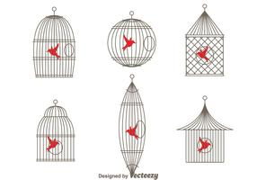 Vector Simple Vintage Bird Cage