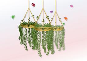 Vector Hanging Pot With Flowers
