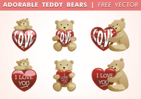 Adorable Teddy Bears Free Vector