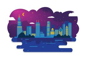Chicago Skyline Night Vector