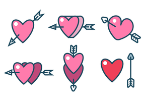 Arrow Through Heart Sticker Vectors