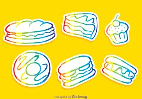 Vector Food Rainbow Outline Icons