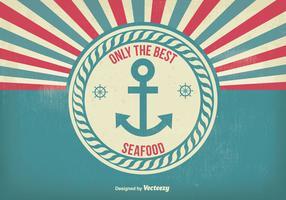 Vintage Style Seafood Poster Illustration