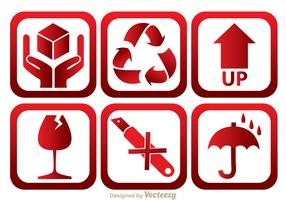 Fragile Red And White Icons