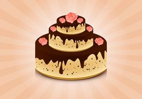 Cake with roses vector background