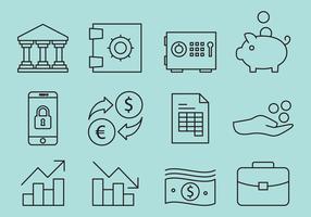 Line Bank Icon Vectors