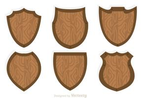 Wood Shield Icon Vectors