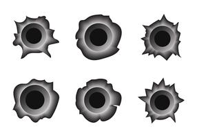 Free Bullet Hole Metal Vector Set