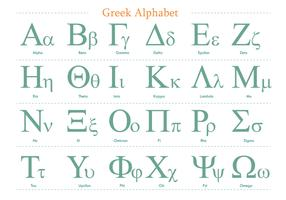 Green Greek Alphabet Vector Pack