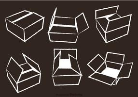 Cardboard Box Chalk Draw Vector